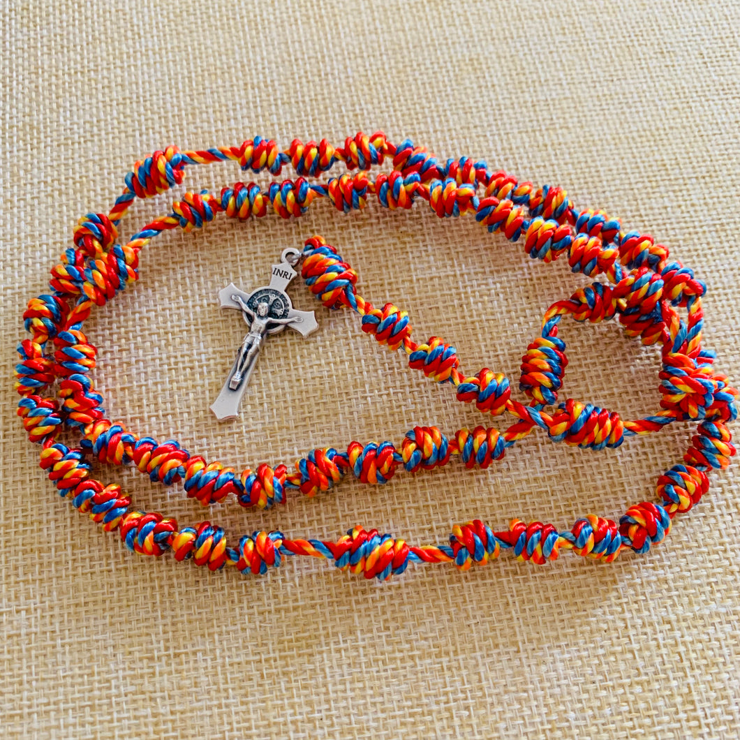 Cheerful Rainbow Knotted Rope Rosary