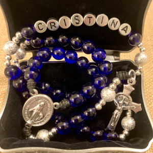 Personalized Royal Blue Rosary