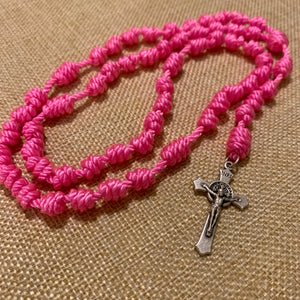 Vibrant Pink Rope Rosary