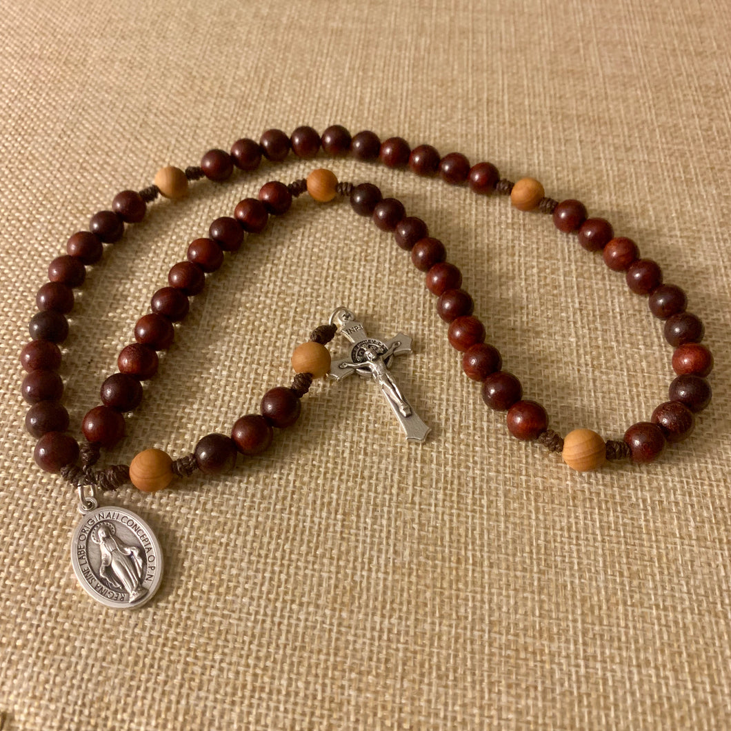 Marian Cherry Wood Rosary