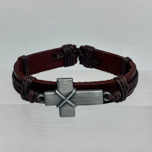 Unisex Cross Leather Bracelet