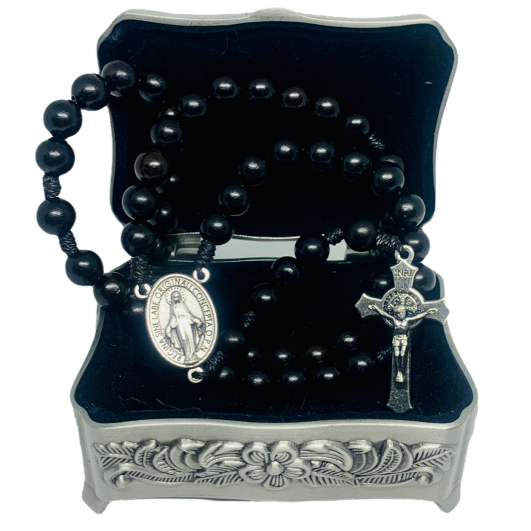 Black Wood Rosary with Saint