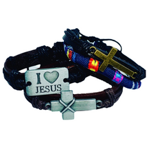 Load image into Gallery viewer, Unisex Cross Leather Bracelet