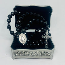 Load image into Gallery viewer, Black Wood Rosary with Saint