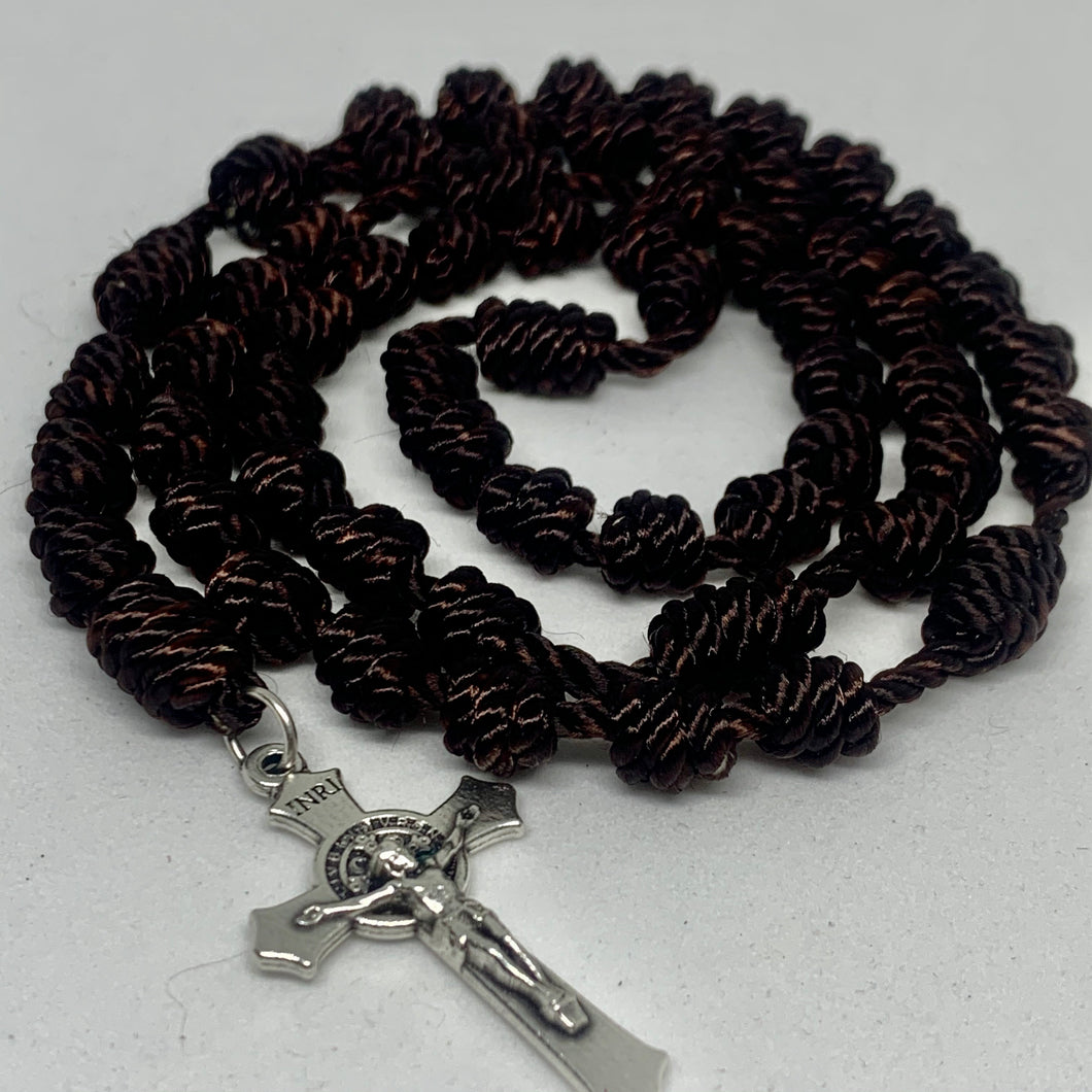 Carmelite Brown Knotted Rope Rosary