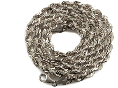 10K White Gold Rope Chain - 5MM
