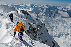 Kit DesLauries on the summit ridge of Mt. Everest