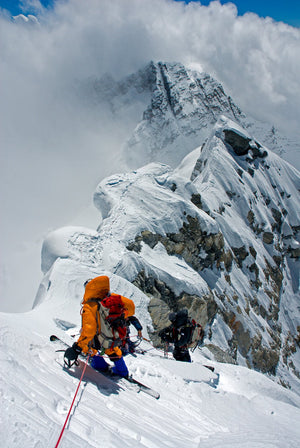 Rob and Kit DesLaueriers preparing to rappel the Hillary Step of Mt. Everest
