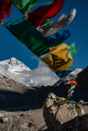 Mt Everest with Prayer Flags