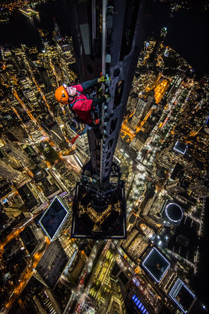 Jamison Walsh atop the World Trade Center, NY