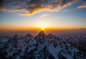 Sunset over the Grand Teton, WY