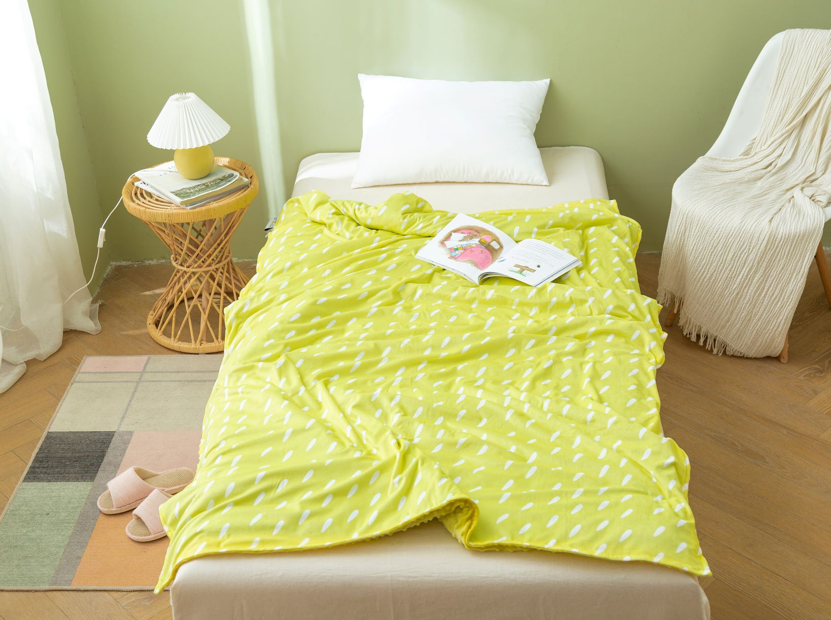 Yellow Dotty Print Cover for 12lb/15lb blanket- 1 size