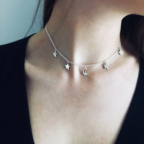 stars and moon choker made from recycled silver.