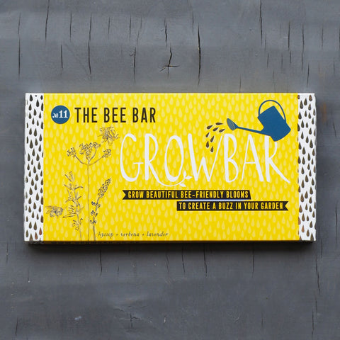 bee bar by growbar in yellow cardboard recyclable packaging.