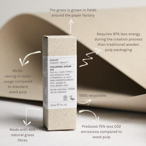 evolve beauty sustainable grass packaging.