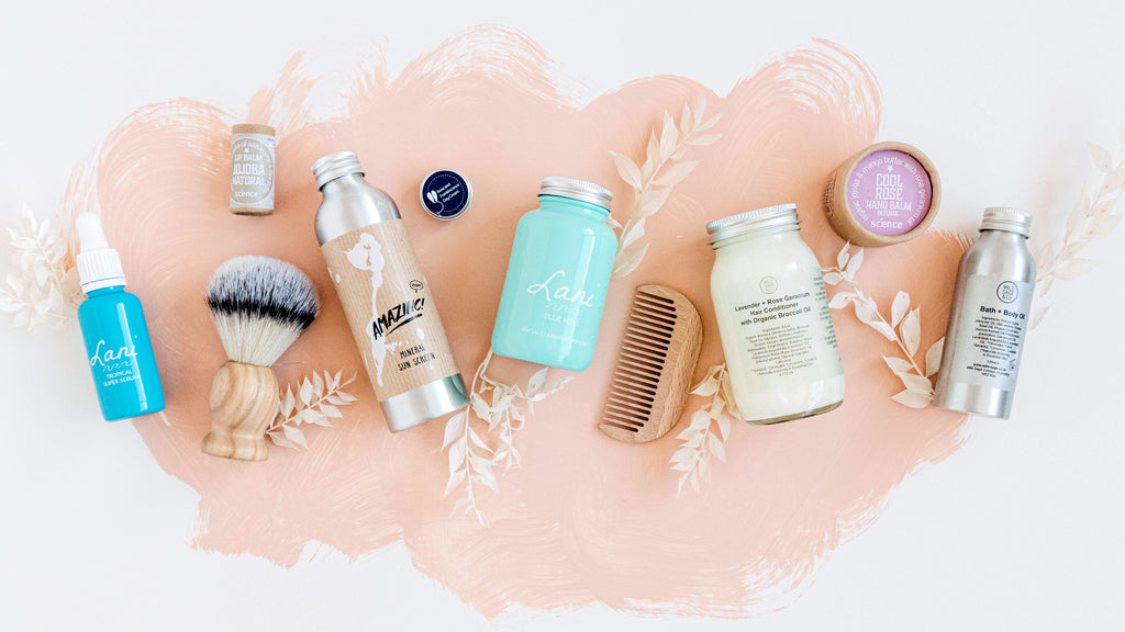 various skincare products styled in a flatlay for the kind store skincare collection