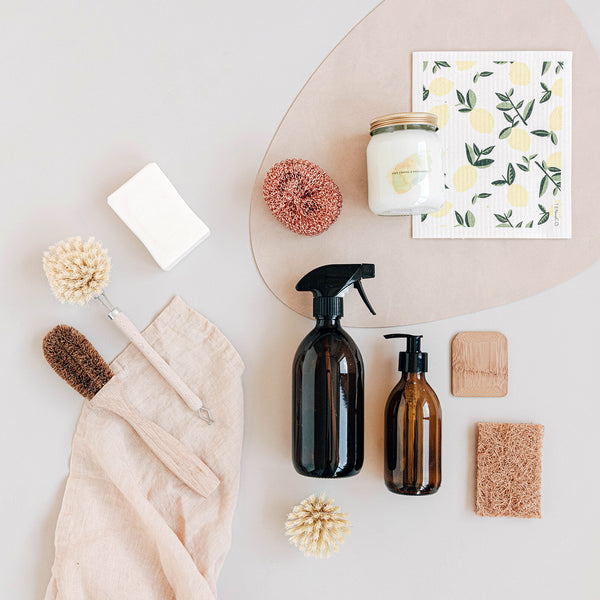 flat lay of eco friendly cleaning products