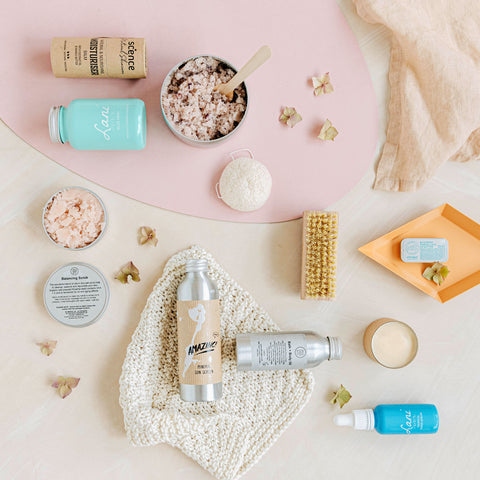 plastic free and vegan items for your bathroom flat lay collection.
