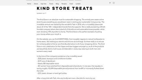 screenshot of the kind store reviewed by love from lulu.
