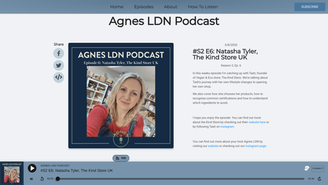 screenshot of natasha tyler of the kind store on agnes ldn podcast.