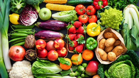 organic fruit and vegetables.