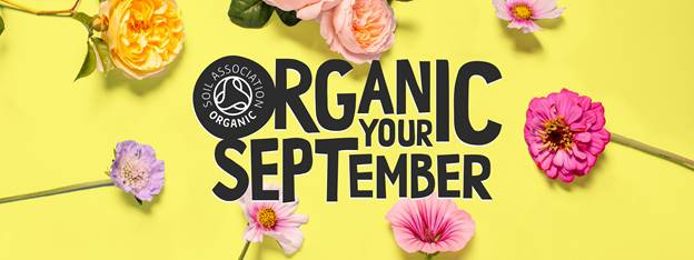 organic your september organic beauty with yellow background and flowers.