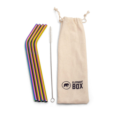Elephant Box All Products 4 Stainless Steel Rainbow Straws & Pouch
