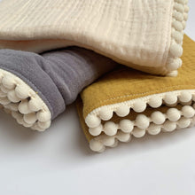 Load image into Gallery viewer, Pure Cotton Studio All Products Cream Organic Cotton Baby Blanket with Pom-Poms