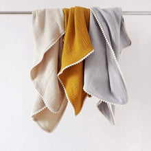 Load image into Gallery viewer, Pure Cotton Studio All Products Mustard Organic Cotton Baby Blanket with Pom-Poms