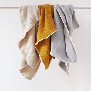 Pure Cotton Studio All Products Mustard Organic Cotton Baby Blanket with Pom-Poms