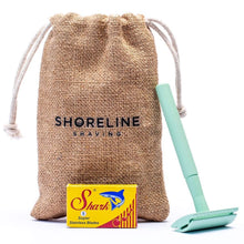 Load image into Gallery viewer, Shoreline Shaving All Products Mint Green Reusable Safety Razor, Pouch & Blades