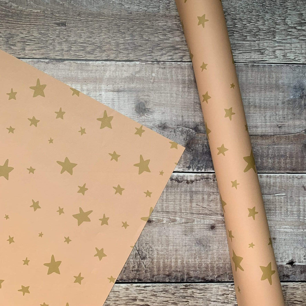 Summer Lane Studio All Products Coral & Gold Star Recycled Wrapping Paper