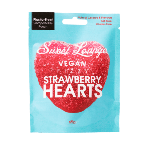 Sweet Lounge All Products Vegan Fizzy Strawberry Hearts