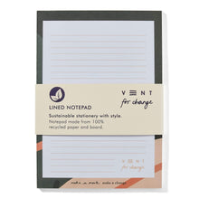 Load image into Gallery viewer, Vent For Change All Products Recycled Ideas Notepad - Green
