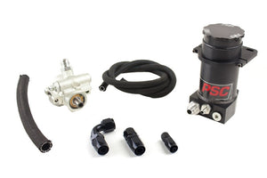 Pro Touring Type II Power Steering Pump and Black Anodized Remote Reservoir Kit for Steering Gearbox Applications PSC Performance Steering Components