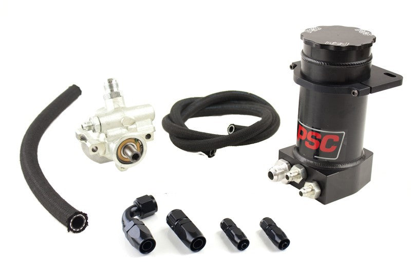Pro Touring Type II Power Steering Pump and Black Anodized Hydroboost Remote Reservoir Kit for Steering Gearbox Applications PSC Performance Steering Components