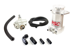 Pro Touring Type II Power Steering Pump and Brushed Aluminum Hydroboost Remote Reservoir Kit for Steering Gearbox Applications PSC Performance Steering Components