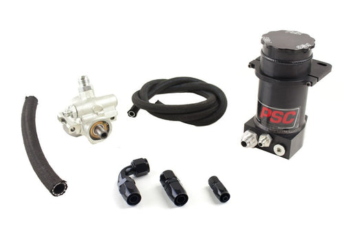 Pro Touring Type II Power Steering Pump and Black Anodized Remote Reservoir Kit for Rack and Pinion Applications PSC Performance Steering Components