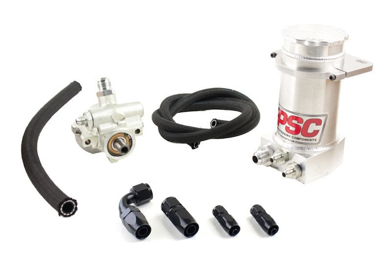 Pro Touring Type II Power Steering Pump and Brushed Aluminum Hydroboost Remote Reservoir Kit for Rack and Pinion Applications PSC Performance Steering Components