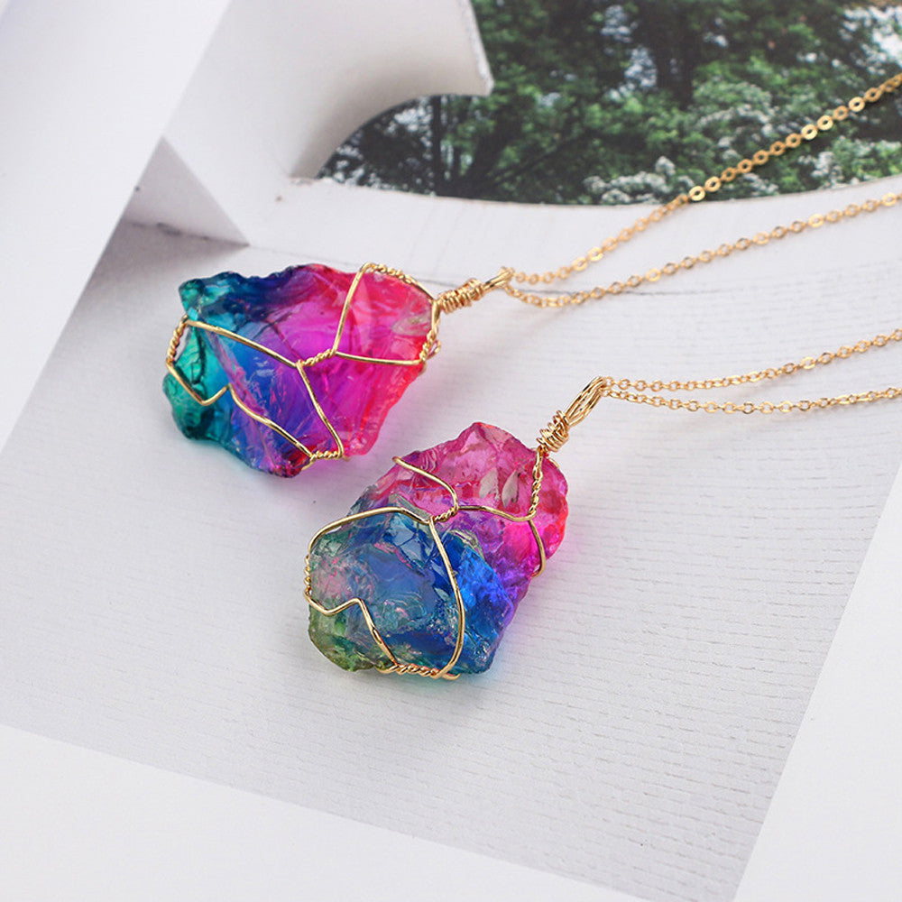 Natural Rainbow Stone Crystal Rock Necklace Gold Plated