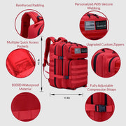 Versatile 45L Backpack Red - The Badge Life