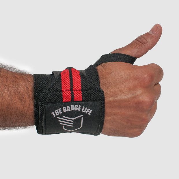 Thin Red Line Lifting Wrist Wraps Set - The Badge Life
