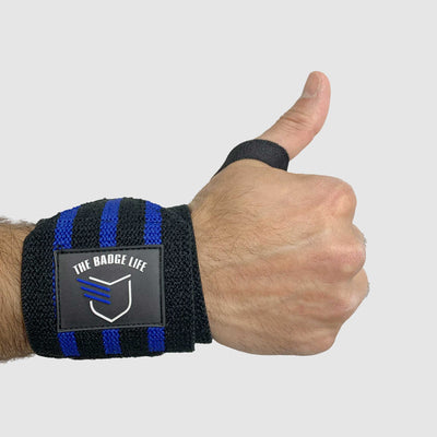 Heavy Duty Thin Blue Line Wrist Wraps V2 Set - The Badge Life