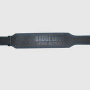 Never Settle Black Weightlifting Belt - The Badge Life