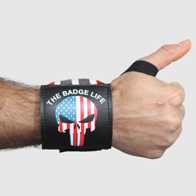 Punisher Heavy Duty Wrist Wraps Set (Grey/White) - The Badge Life