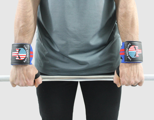 Punisher Heavy Duty Wrist Wraps Set (Red/Blue) - The Badge Life
