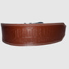 Never Settle Brown Weightlifting Belt - The Badge Life