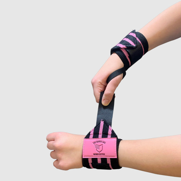 Pink Weightlifting Wrist Wraps Set - The Badge Life