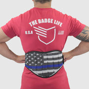 Thin Blue Line Flag Weight Lifting Belt - The Badge Life