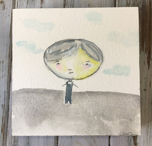 "Isaiah - watercolor painting 8""x8"" birch wood panel - Boy in Overalls -Whimsical"